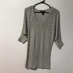 White House Black Market Sequin V Neck Sweater M
